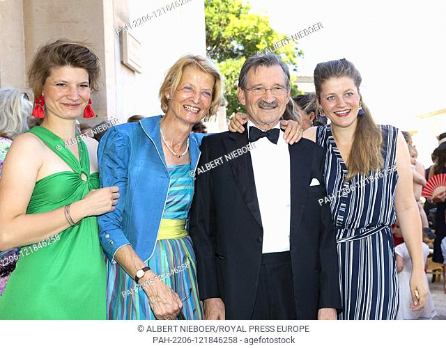 Hermann Otto Prinz zu Solms.Christiane Prinzessin zu Solms.With two of their daughters arrive at the Esglesias de Montes-Son in Pollensa, on June 29, 2019