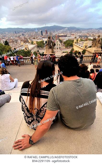 Couple. View of Barcelona from National Palace, Palau Nacional, Catalonia National Museum of Art, MNAC. Montjuic. Barcelona. Catalonia. Spain