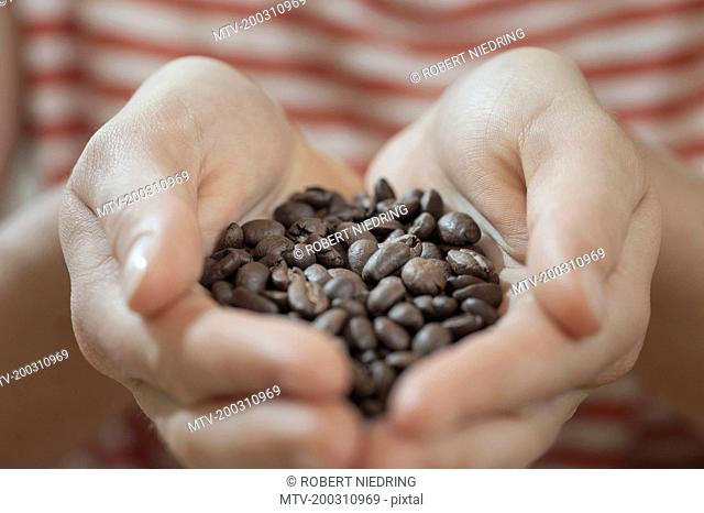 Hands full with coffee beans