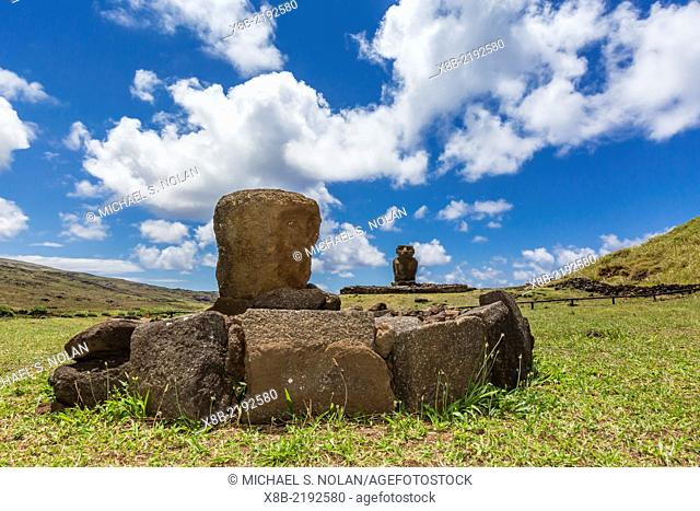 Moai at the restored ceremonial site of Ahu Nau Nau on Easter Island (Isla de Pascua, Rapa Nui), Chile