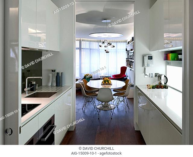 Kitchen diner in Compass Court Apartment, Shad Thames, London, England, UK