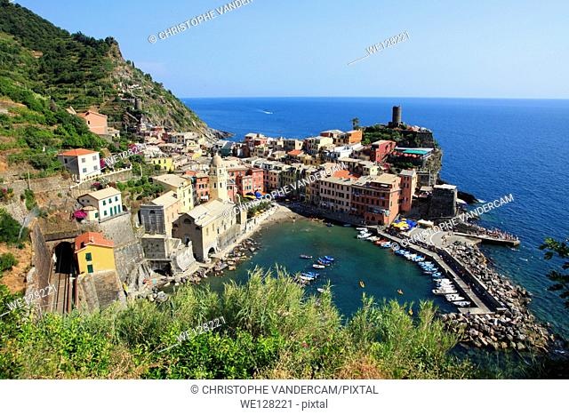 Vernazza in one of the 5 villages built on the sea side called Cinque Terre, Tuscany in North Italy