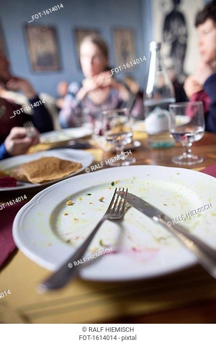 Fork and knife on plate with people sitting at dining table in background