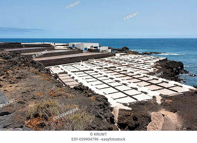 Salt pans of Fuencaliente at La Palma, Canary islands, Spain