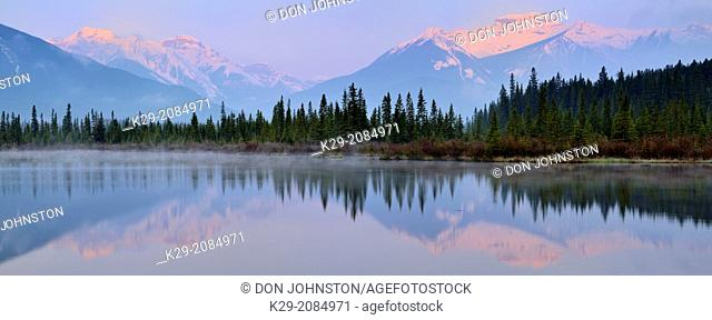Sundance Range reflected in Third Vermilion Lake, Banff NP, Alberta, Canada