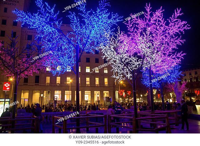 Christmas lighting, Barcelona, Catalunya, Spain
