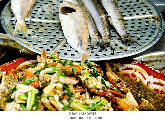 Thailand, Bangkok, Close-up of unusual delicacies found at street vendor food stalls