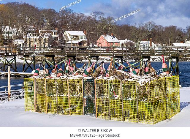 USA, New England, Cape Ann, Massachusetts, Annisquam, lobster traps, winter