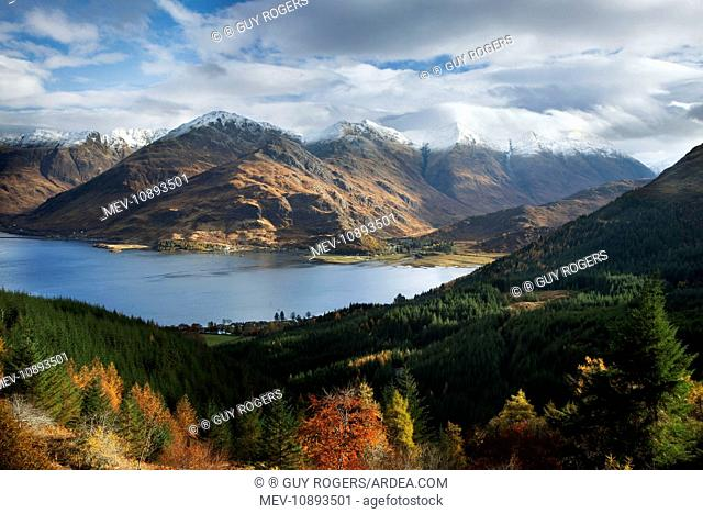 Five Sisters of Kintail looking across Loch Duich from a high view point - November. Ratagan - Glen Shiel - Scotland - UK