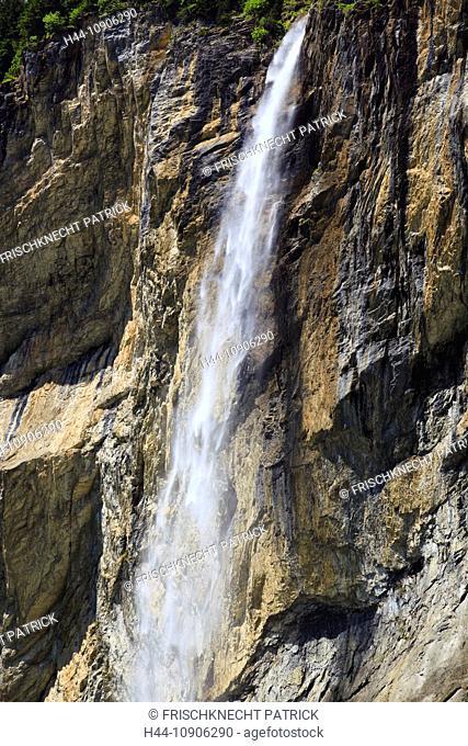 Alps, creek, brook, mountain, mountains, canton Bern, Bernese Oberland, rocks, cliffs, cliff wall, spring, mountains, Lauterbrunnen, valley, Switzerland, summer