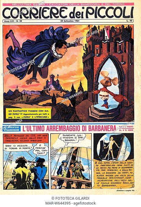 MAGO ZURLÍ prima pagina del Corriere dei Piccoli con una storia del mago Zurlì e Topo Gigio, due personaggi che hanno contribuito alla popolarità dei primi...