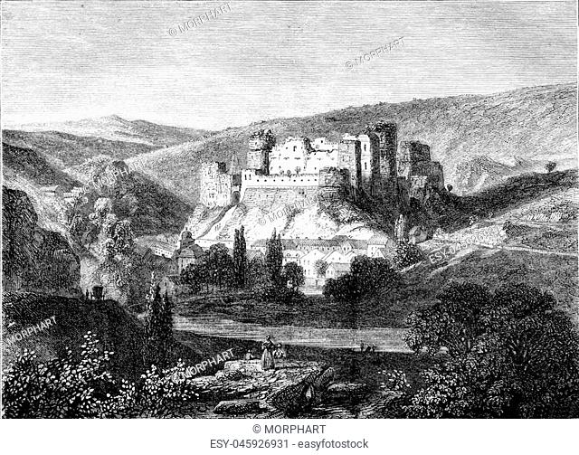 View of the ruins of the Rock on the Ourthe, vintage engraved illustration. Magasin Pittoresque 1852