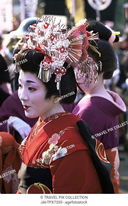 Japan, Honshu, Tokyo, Geishas at Jidai Matsuri Festival held Annually in November at Sensoji Temple Asakusa