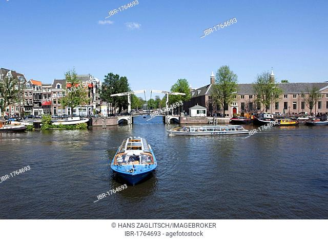 Excursion boat on the Amstel River, Hermitage, Amsterdam, Holland, Netherlands, Europe