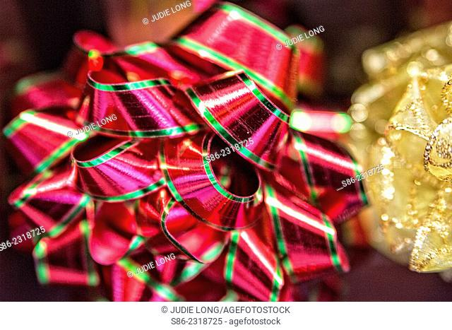 Close up of Christmas Ribbon Bows