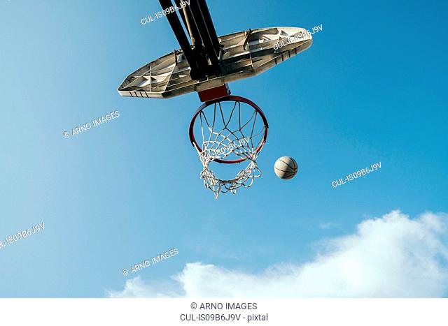 View from below basketball net and basketball