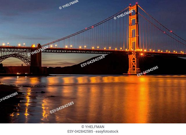 The Golden Gate Bridge and the Marin Headlands in the background
