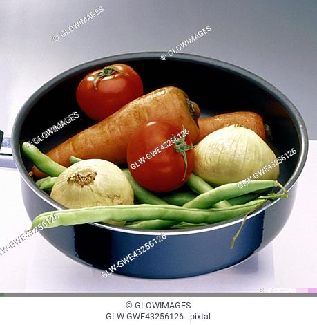 Close-up of vegetables in a frying pan