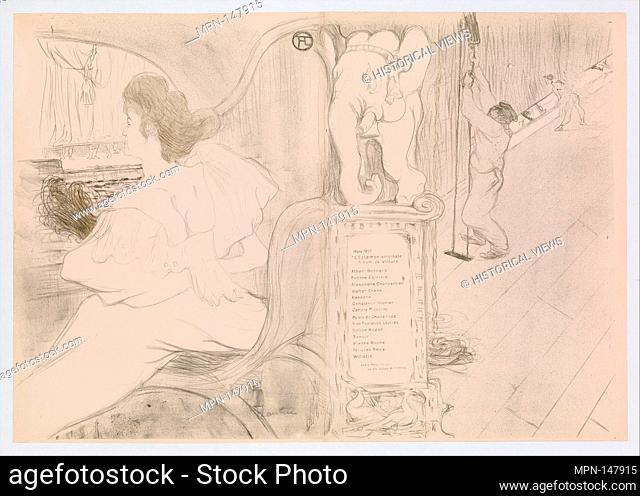 At the Curtain (Au rideau). Series/Portfolio: L'Estampe originale, Album IX, cover; Artist: Henri de Toulouse-Lautrec (French