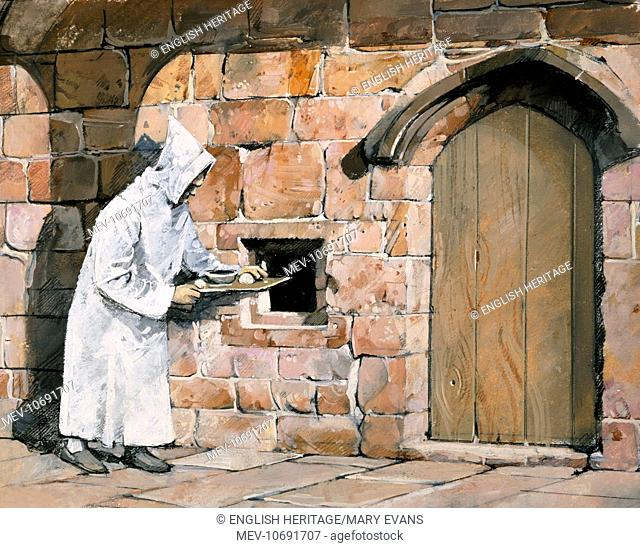 Mount Grace Priory, North Yorkshire. Reconstruction drawing by Ivan Lapper of lay brother bringing food to a monk's cell