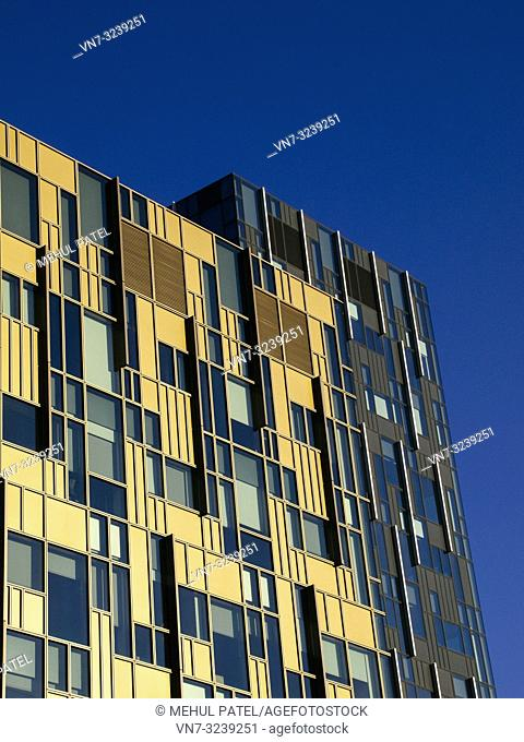 Modern office building on the Greenwich Peninsula by the O2 arena in London