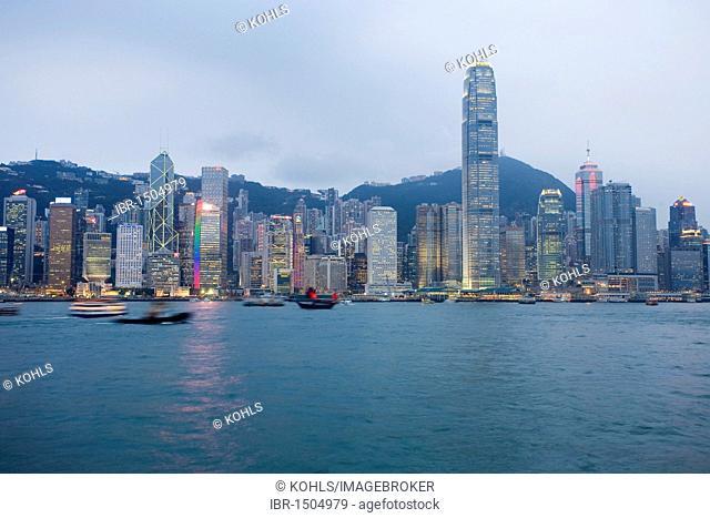 Illuminated skyline, Victoria Harbour, Hong Kong Island, Hong Kong, China, Asia