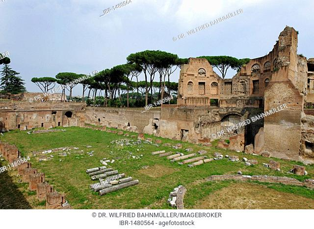 Palatine Hill, Stadio Palatino in the Domus Augustana part of the Palace of Domitian, Palazzo di Domiziano, ancient Rome, Rome, Lazio, Italy, Europe