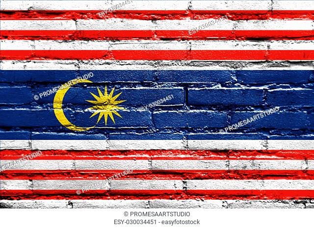 Flag of Kuala Lumpur, painted on brick wall