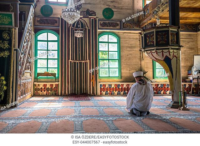 Interior detail of Artvin,Macahel,Camili Camii(mosque),coverd with wooden boards built in Eighteen century. TURKEY,Artvin,August 18, 2015