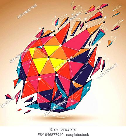 Abstract colorful vector low poly wrecked object with black lines and dots connected. 3d origami futuristic form with lines mesh