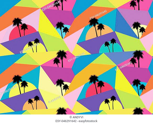 Palm trees seamless pattern. Avant-garde style. Chaotic particles. Vector illustration