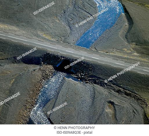 Aerial view of highway number one, South Iceland