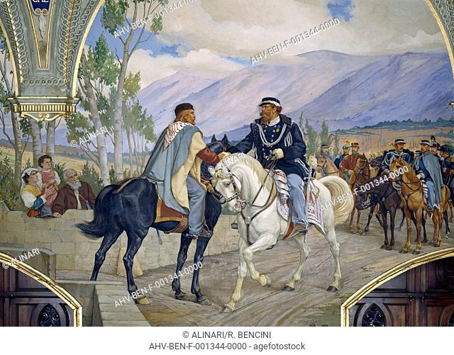 The Handshake of Teanobetween Giuseppe Garibaldi and Victor Emmanuel II (central detail), fresco, Pietro Aldi (1852-1888), Sala del Risorgimento