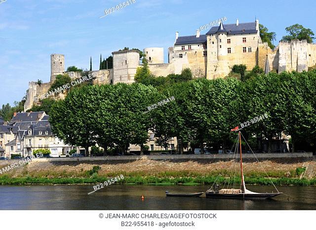 Castle and banks of Vienne river, Chinon, Indre-et-Loire, Val de Loire, Centre, Touraine, France