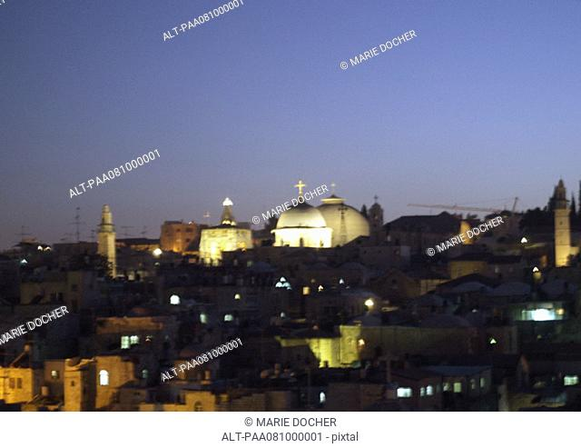 Israel, Jerusalem, skyline at night