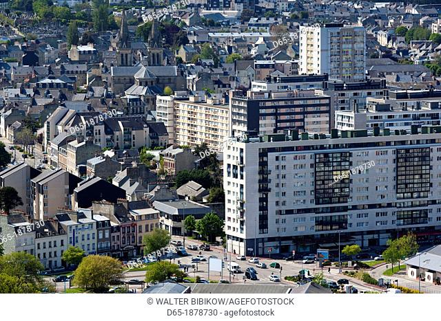 France, Normandy Region, Manche Department, Cherbourg-Octeville, elevated Cherbourg city view from the Fort du Roule