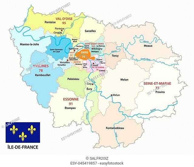ile de france administrative and political vector map with flag