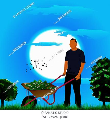 Businessman pushing a wheelbarrow of money near a money tree
