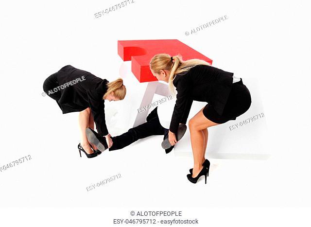 Business women saving colleague