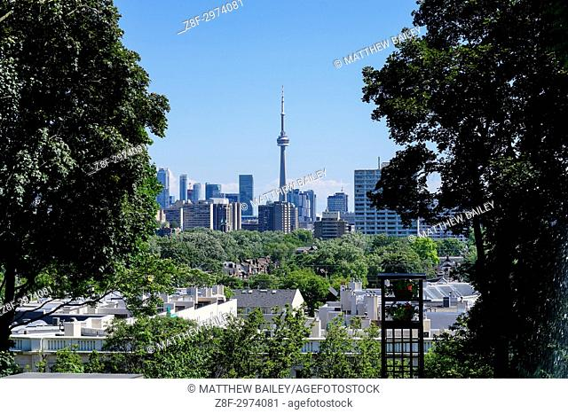 Between the trees, we see the Toronto Skyline with the CN Tower