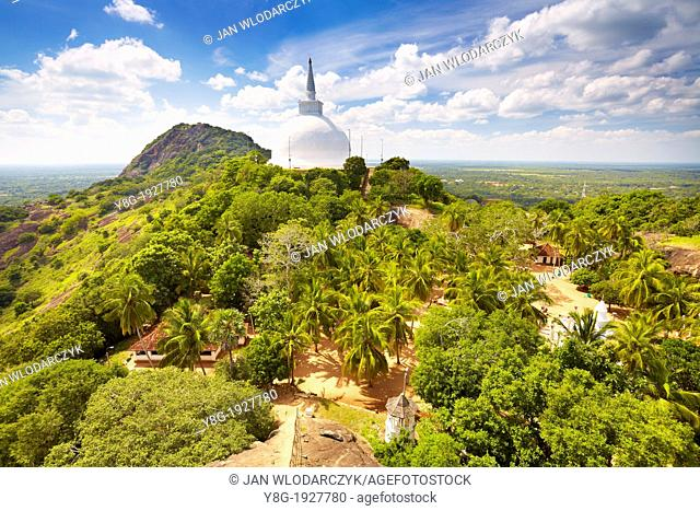 Sri Lanka - Mihintale Temple, view at Mahaseya Dagoba, UNESCO World Heritage Site, buddhist temple complex in Sri Lanka