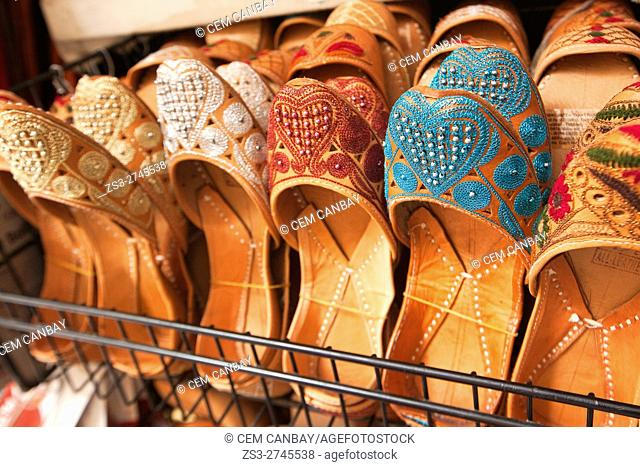 Moorish slipper in a handicrafts shop in the Alcaiceria commercial area, Granada, Andalucia, Spain, Europe