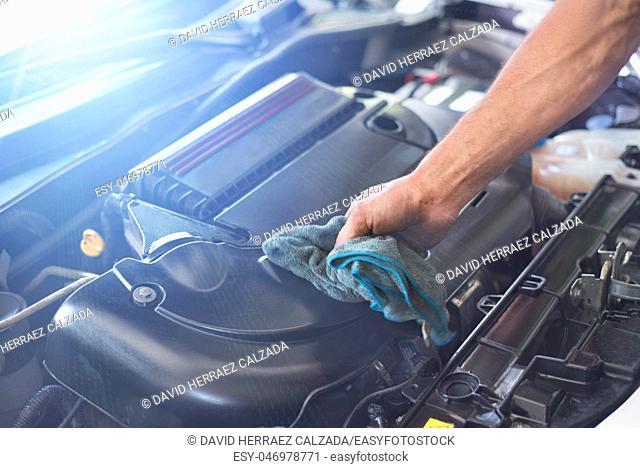 Mechanic cleaning car engine . Car maintenance service