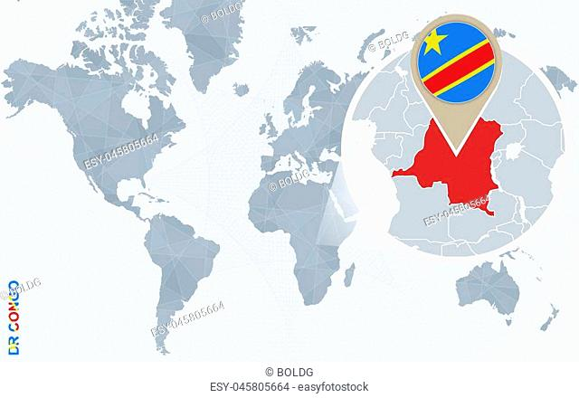 Abstract blue world map with magnified Democratic Republic of the Congo. DRC flag and map. Vector Illustration