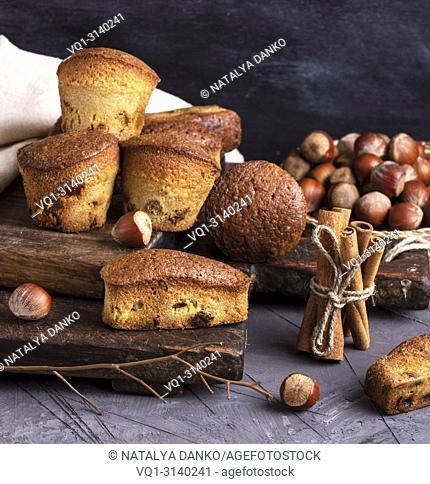 baked cupcakes with dried fruits on a wooden board, close up
