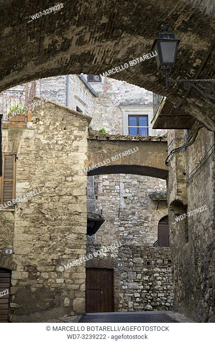 historic alley of the city of Narni, near Terni, Umbria, Italy