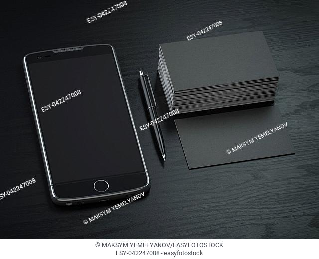 Mockup of blck blank business cards, black mobile phone and pen on the black wooden desk background. 3d illustration