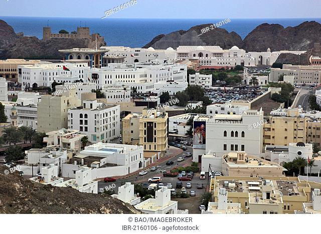 Overlooking the historic town centre of Muscat, Oman, Arabian Peninsula, Middle East, Asia