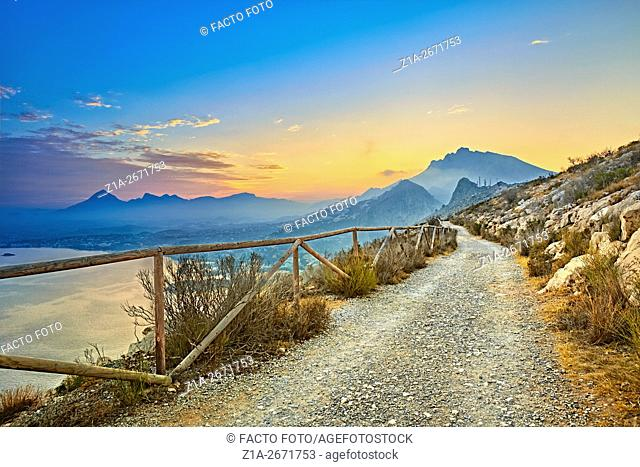 Natural Park of Penyal d'Ifac by sunset at the Mediterranean sea. Calpe. Alicante. Valencia Community. Spain