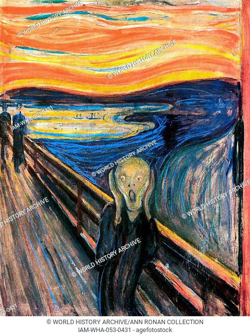 One of several versions of the painting 'The Scream' by the Norwegian artist Edvard Munch (1864-1944). This work was produced c 1893